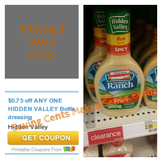 TARGET: Hidden Valley Dressing For Only $1.33 With This Coupon! Print Here