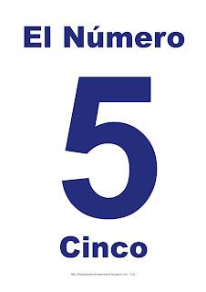 Lámina para imprimir el número cinco en color Azul
