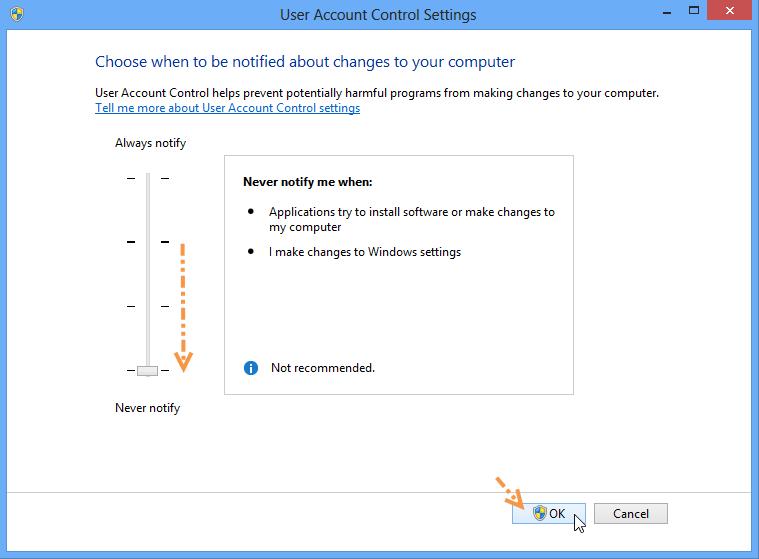 ปิดการทำงานของ UAC (User Account Control) ใน Windows 8 W8useracc03