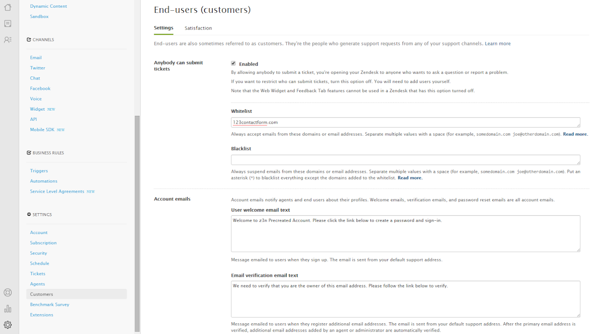 how to create a white list in zendesk