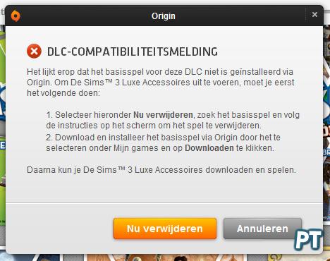 Origin DLC Compatibiliteitsmelding