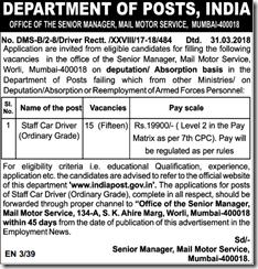 Mail Motor Service Mumbai Driver Notice 2018 indgovtjobs
