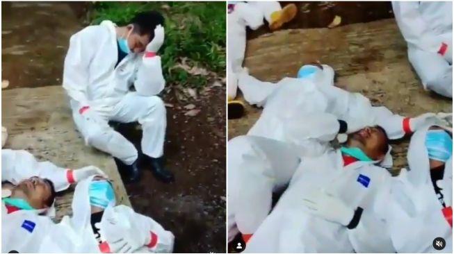 Viral Video Nakes 'Tepar' Usai Kubur Jenazah Pasien COVID-19 di Ciamis