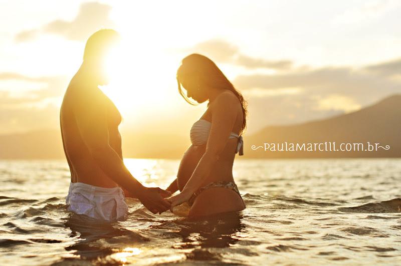 book de grávida na praia