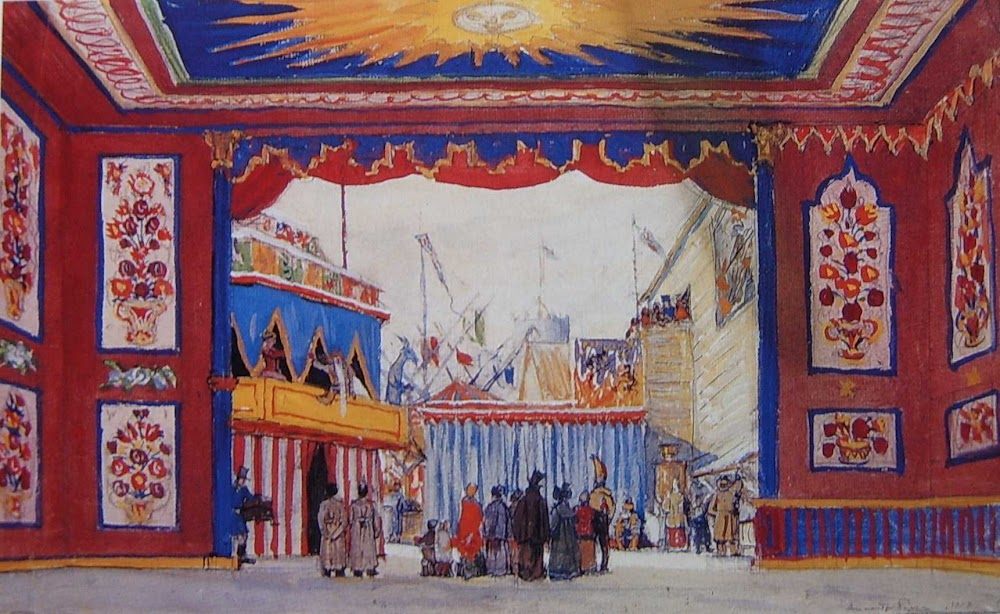 Diseño de Alexandre Benois para Petrushka, 1911.