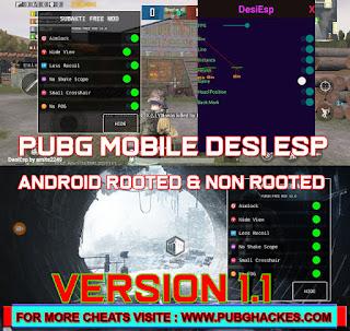 PUBG MOBILE ESP HACK 1.1   Desi ESP Hack 5.0   Modded APK Root or Non Root
