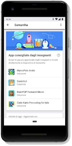 Schermata su dispositivo mobile che mostra le app consigliate dagli insegnanti