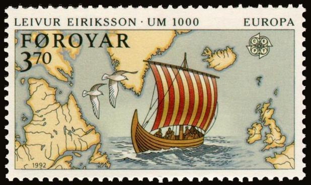 Faroe_stamp_225_Discovery_of_America_-_Leivur_Eiriksson