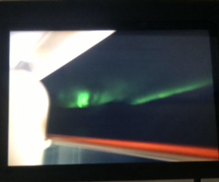 Green aurora photographed on cruise ship between Iceland & Greenland (Source: Palmia Observatory)