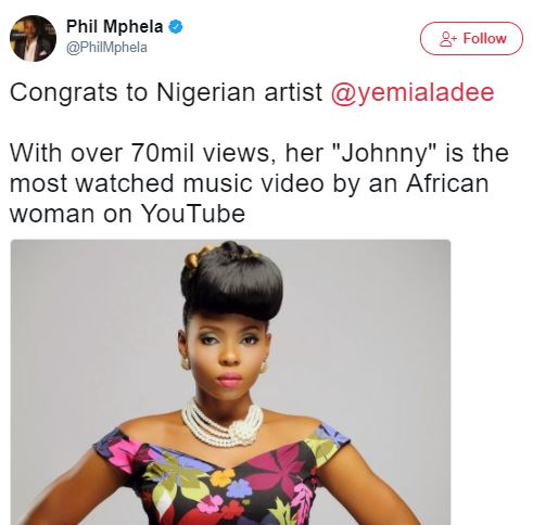 Record! Johnny becomes most watched Music Video by an African female artiste on YouTube