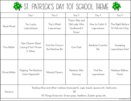 St. Patrick's Day Tot School Theme