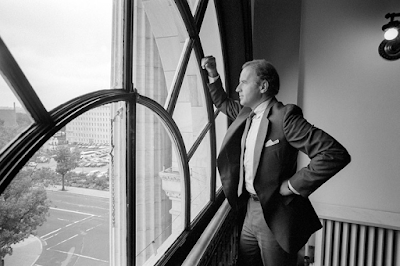 Joe Biden looking out window near his oSenate office in 1988