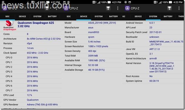 Benchmark Asus Zenfone Zoom S ZE553KL CPU-Z