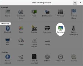 Configurar el hardware en GNOME. Pantalla.