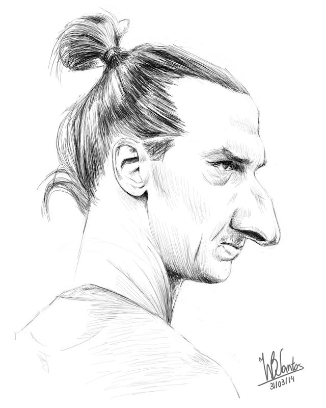 Sketch caricature of Zlatan Ibrahimović, using Krita.