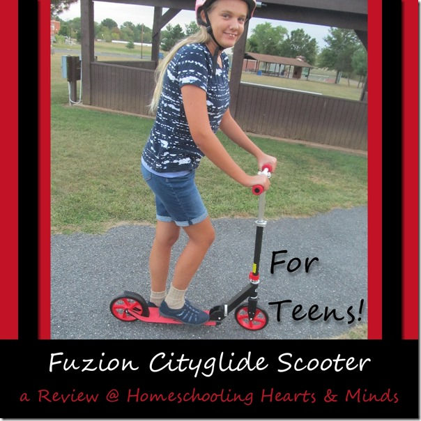 Fuzion Cityglide Scooter for Teens and Adults a review at Homeschooling Hearts & Minds
