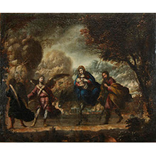 Huida a Egipto. Autor anónimo y fecha de realización desconocida. Óleo sobre lienzo. Imagen de la obra después de la restauración