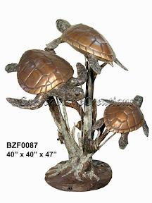 Bronze, Fountain, Sea Turtle, Statue