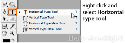 Horizontal Type tool.