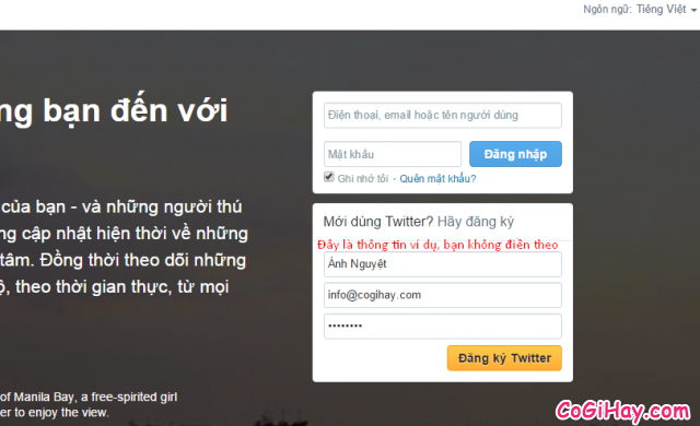 Điền thông tin đăng ký Twitter