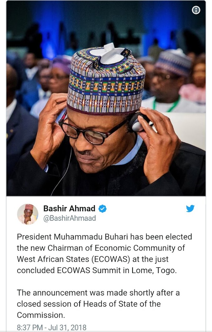JUST IN: President M.Buhari Emerges new ECOWAS chairman.