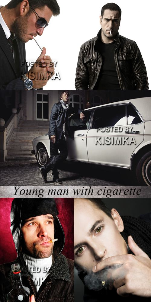 Stock Photo: Young man with cigarette