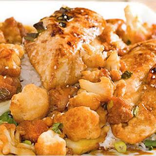 Soy-Kaffir Lime Chicken Breast with Glazed Cauliflower.