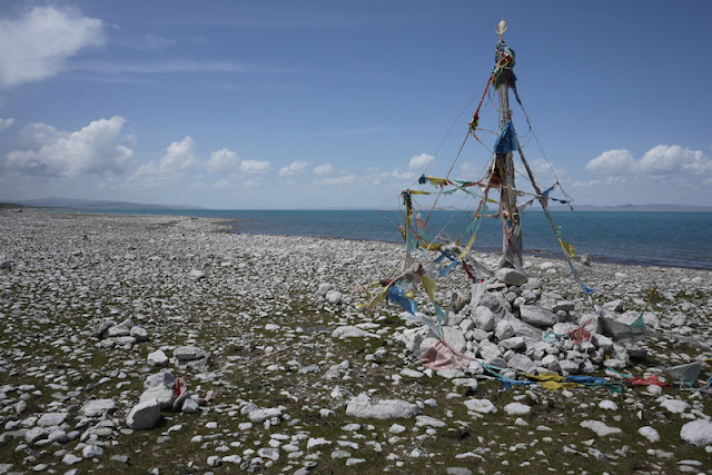Tibetan prayer flags at Qinghai lake
