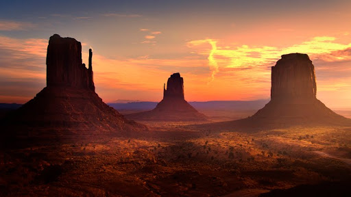 Sunrise Light on the Mittens, Monument Valley, Utah.jpg