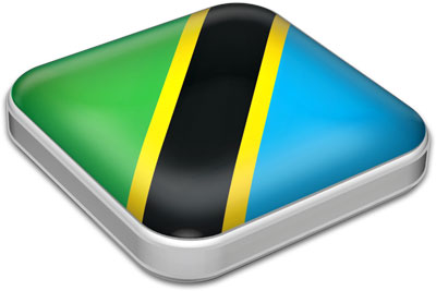 Flag of Tanzania with metallic square frame