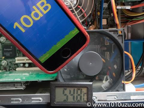 チップセットファンを鎌風の風PWMに変更時:10dB 54.8℃