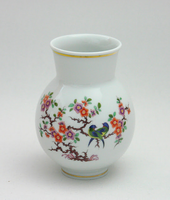 meissen vase indische blumen und vogelmalerei bunt mit kupfer gold ebay. Black Bedroom Furniture Sets. Home Design Ideas