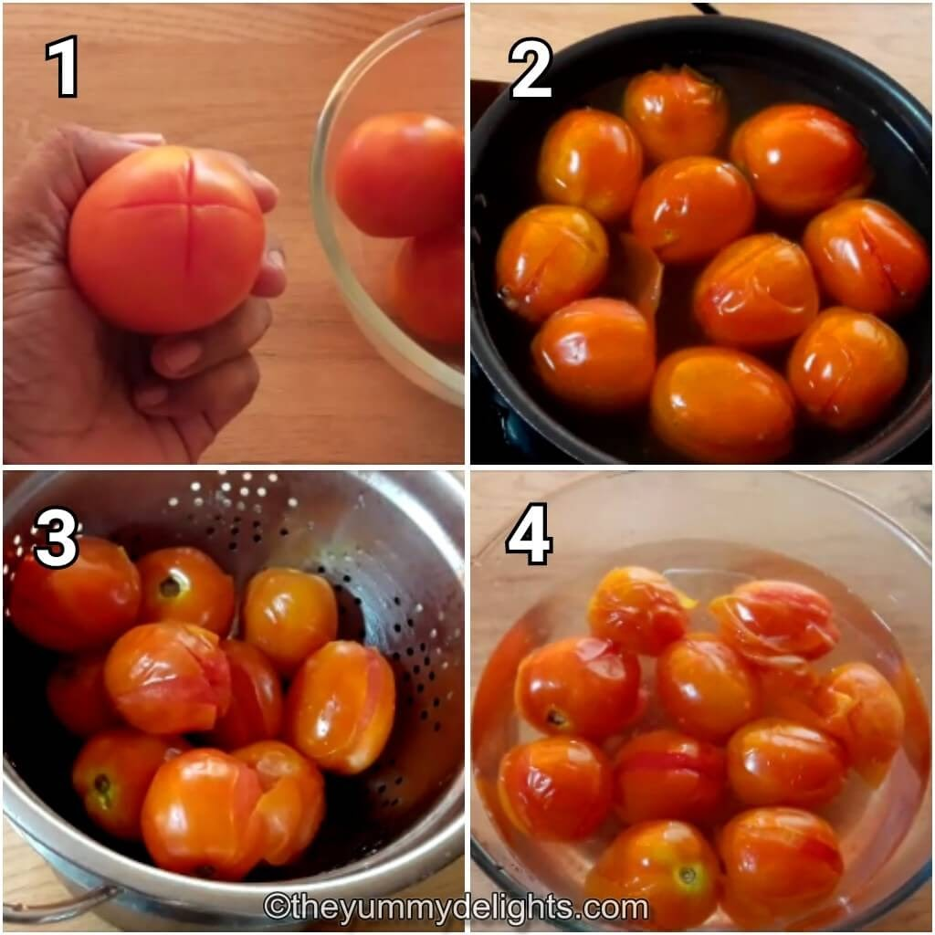 step by step image collage of boiling the tomatoes and peeling the skin to make marinara sauce