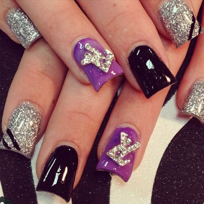 Latest Black And Purple Acrylic Nails Colors 2016