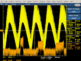 High frequency oscilloscope trace from counterfeit iPhone charger