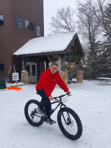 Presidents weekend Variety show MC Fred from Kentucky testing out the new fat bikes.