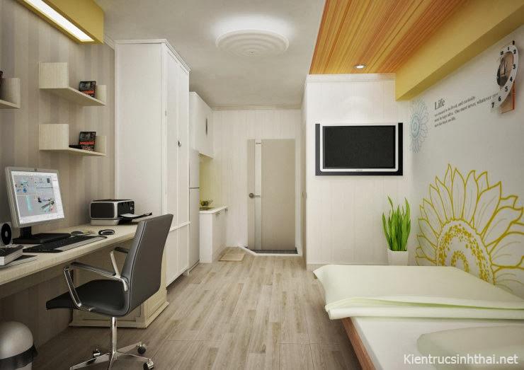 Thiết kế căn phòng nhỏ với vệ sinh , bếp , bàn làm việc và giường ngủ.