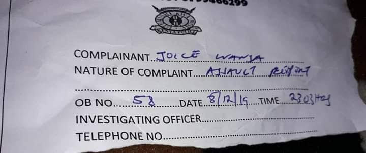 Grace Wanja OB number when she reported to the Police
