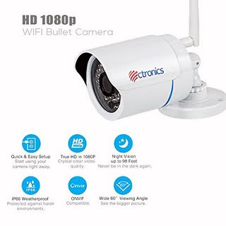 IP Camera,Ctronics WIFI Wireless Security Camera Outdoor Bullet Home Surveillance Camera HD 1080P Night Vision,Motion Detect,Email Alert,PC,Phone,Tablet,CMS Remote Review,Night Vision,Up to 128G SD