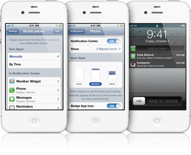 правила уведомлений Apple iPhone 4s