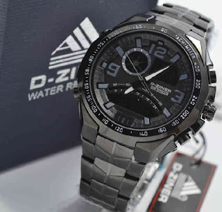 jam tangan D-ZINER DZ8061 Double time Full black Metalik chain Grey