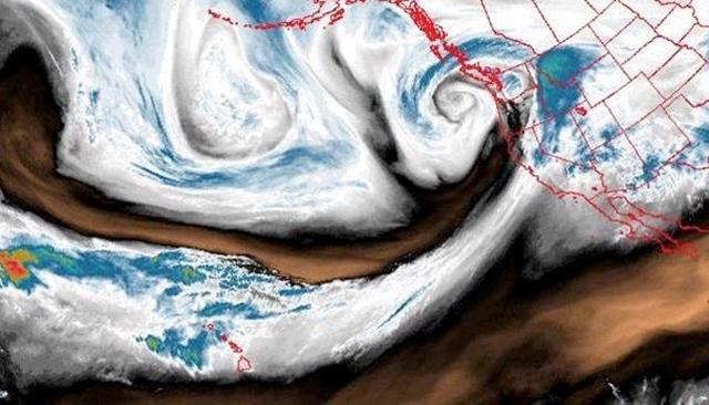 The narrow tendril from Hawaii to the U.S. West Coast shown here in GOES water vapor imagery at 9 am PDT Saturday, 7 April 2018, is actually a Pineapple Express atmospheric river that carried a record-setting amount of moisture into the western U.S. Photo: NWS / Spokane, WA