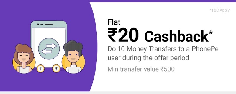 (Today Only) PhonePe - Get ₹20 When You Transfer Money 10 Times to a PhonePe Users