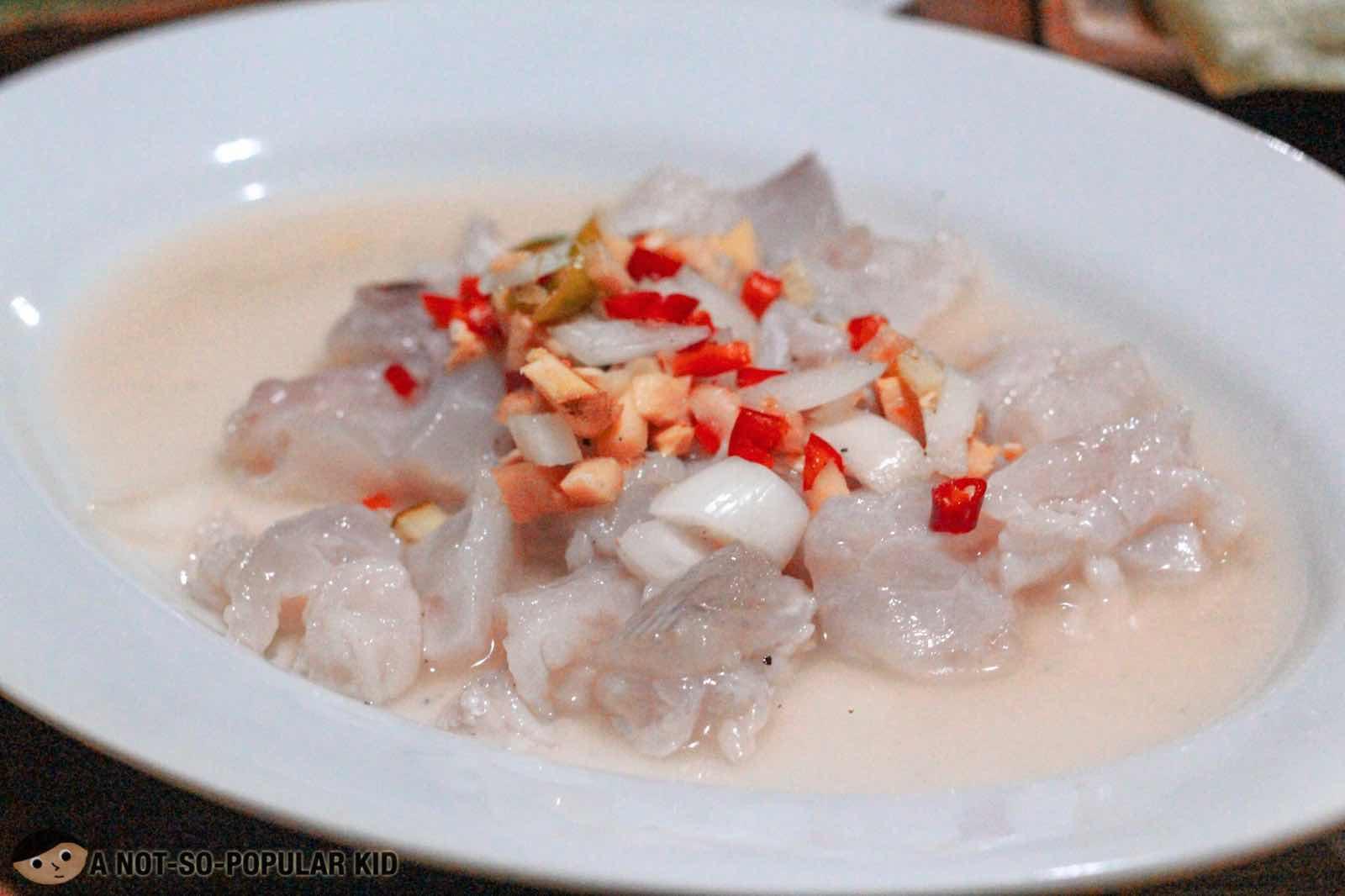 Kinilaw na Tangiue in Ningnangan Seafood Paluto, Bulacan