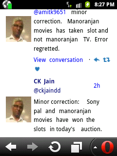 25th E Auction update Good news for DD Free Dish (DD Direct Plus) users, Sony Pal and Manoranjan TV won the slots on DD Free Dish 2