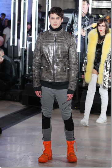 NEW YORK, NY - FEBRUARY 13:  A model walks the runway wearing look #56 for the Philipp Plein Fall/Winter 2017/2018 Women's And Men's Fashion Show at The New York Public Library on February 13, 2017 in New York City.  (Photo by Thomas Concordia/Getty Images for Philipp Plein)