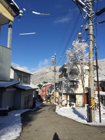 Nozawa onsen on Christmas day! Blue skies and snow!