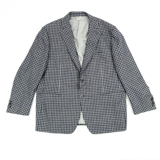 Nicky Verbier Navy Check Two-Button Suit Jacket