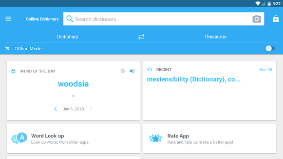Collins English Dictionary and Thesaurus Screenshot