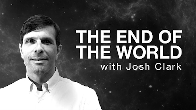 """Picture of Josh Clark on a background of picture of space with stars. Also white text that reads """"The End Of The World With Josh Clark"""""""